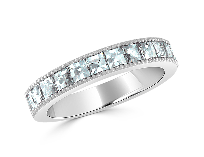 Blaze cut diamond band in platinum.