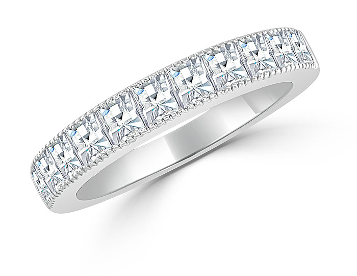 Bez Ambar blaze cut diamond band in 18k white gold.