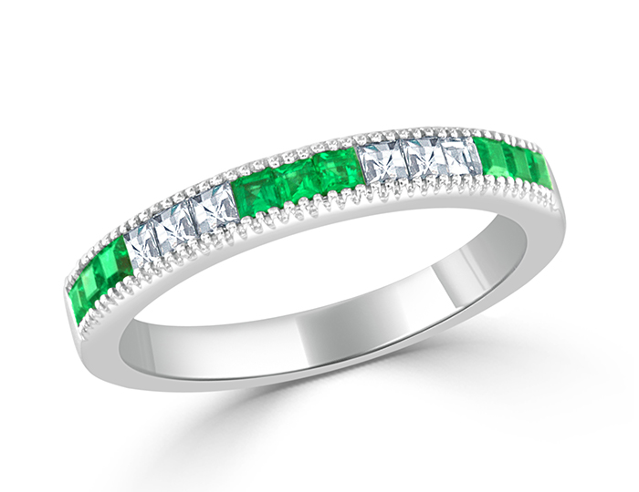 Emerald and blaze cut diamond band in 18k white gold.