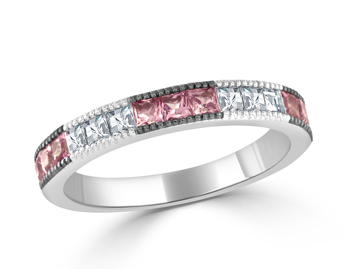 Pink sapphire and blaze cut diamond band in 18k white gold.