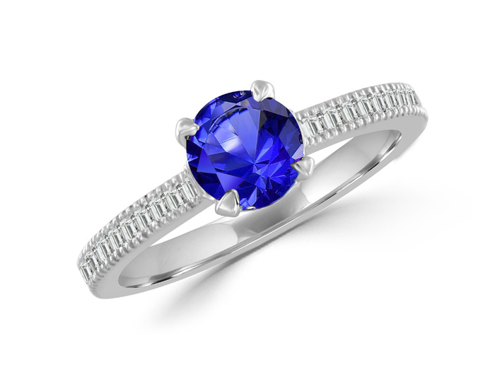 Sapphire, round brilliant cut and blaze cut diamond ring in 18k white gold.