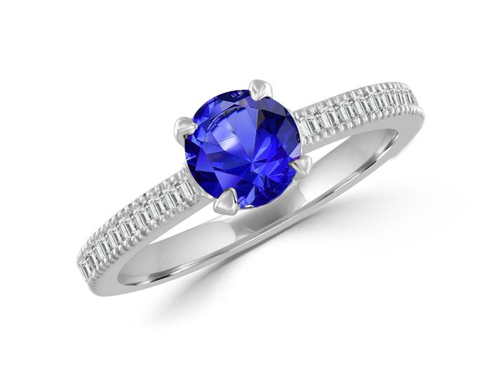 Sapphire, round brilliant cut and blaze cut diamond ring in 18k white gold.