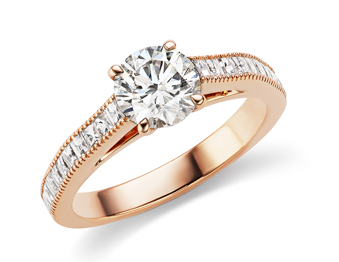 Round brilliant cut and blaze cut diamond engagement ring in 18k rose gold.