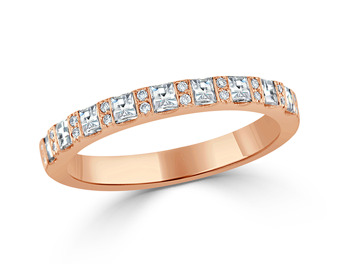 Bez Ambar blaze cut and round brilliant cut diamond band in 18k rose gold.