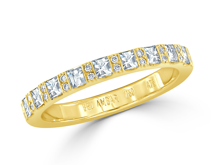 Blaze cut and round brilliant cut diamond band in 18k yellow gold.