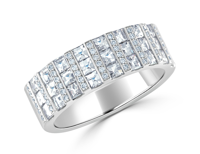 Round brilliant cut and blaze cut diamond band in 18k white gold.