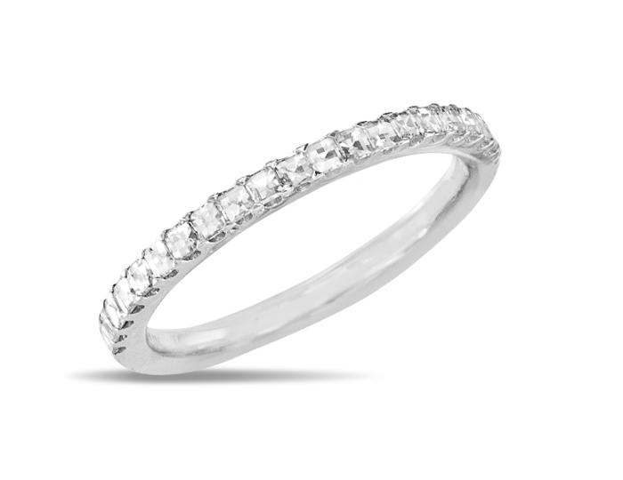 Blaze cut diamond band in 18k white gold.