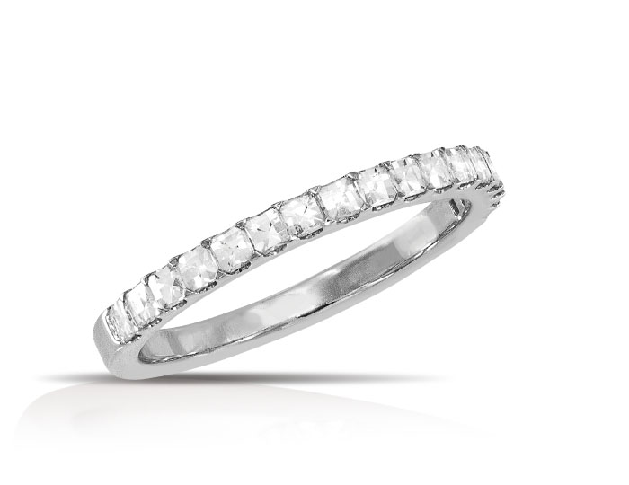 Blaze cut diamond band in 18k white gold.