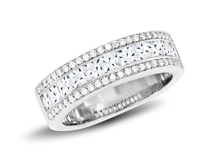 Blaze and round brilliant cut diamond band in platinum.