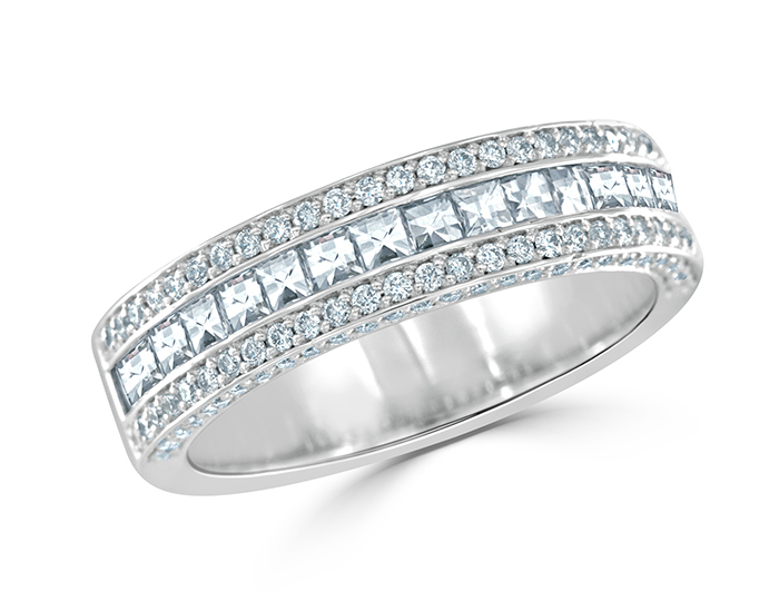Round brilliant cut and blaze cut diamond band in 18k white gold
