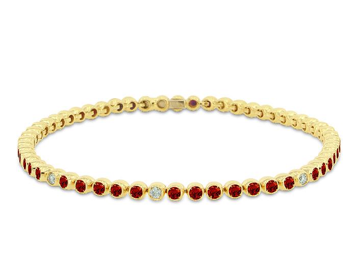 Casato ruby and round brilliant cut diamond bracelet in 18k yellow gold.
