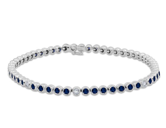 Casato round sapphire and round brilliant cut diamond bracelet in 18k white gold.