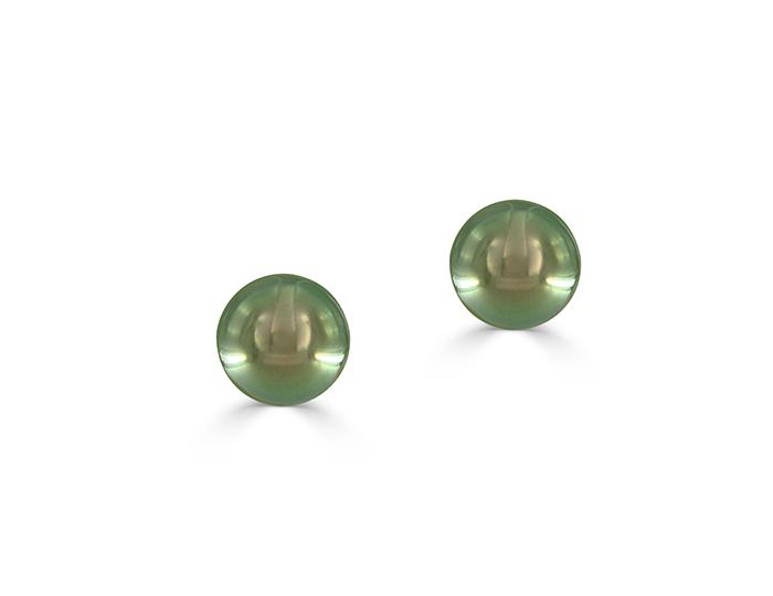 Black Tahitian pearl stud earrings in 18k white gold.