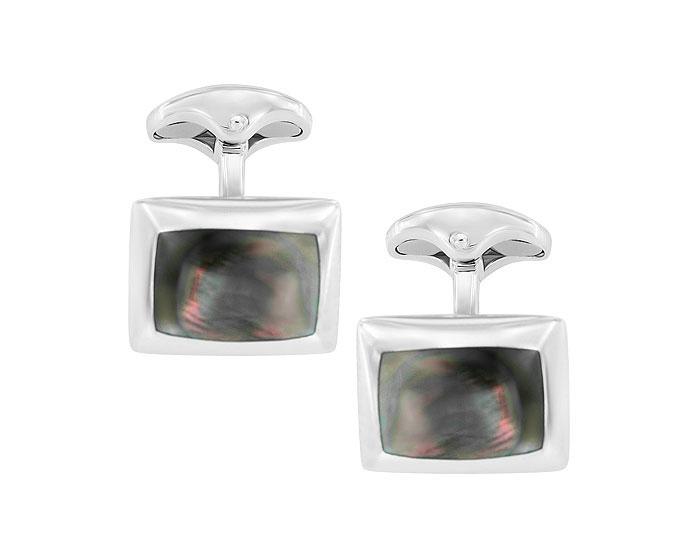 Deakin & Francis black mother-of-pearl cufflinks in sterling silver.