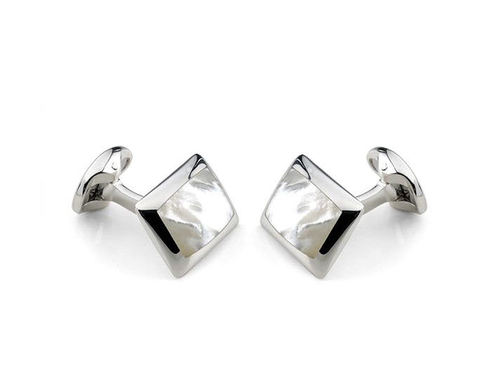 Deakin & Francis mother-of-pearl cufflinks in sterling silver.