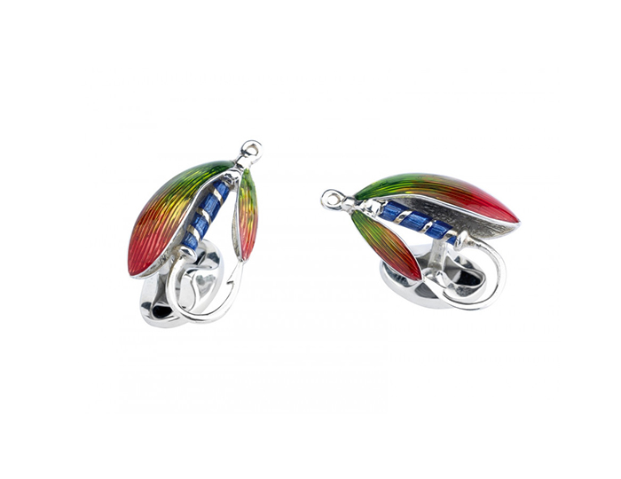 Deaking & Francis fly fishing enamel cufflinks in sterling silver.