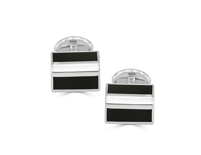 Deakin & Francis black onyx cufflinks in sterling silver.