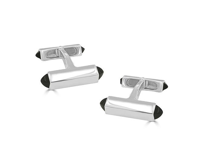 Deakin & Francis black onyx cufflinks in sterling silver.