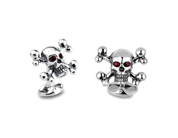 Deakin & Francis ruby skull and cross bones cufflinks in sterling silver.