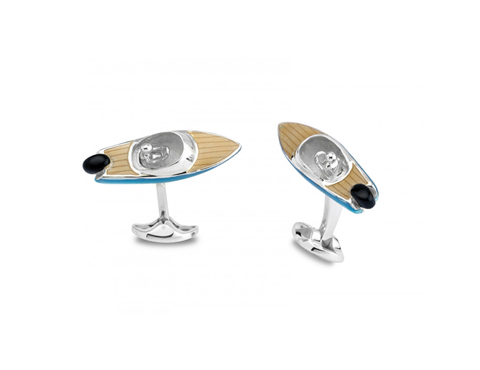 Deakin & Francis speed boat enamel cufflinks in sterling silver.