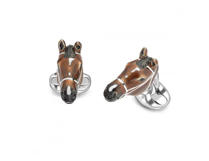 Deakin & Francis horse enamel cufflinks in sterling silver.