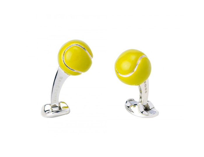 Deakin & Francis tennis ball enamel cufflinks in sterling silver.