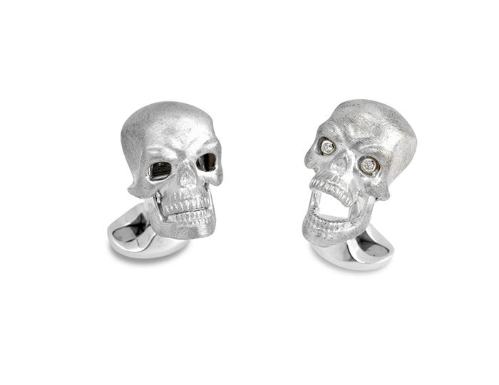 Deakin & Francis round brilliant cut diamond cufflinks in sterling silver.