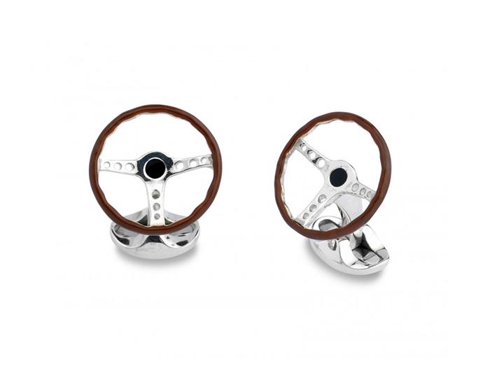 Deakin & Francis vintage steering wheel enamel cufflinks in sterling silver.