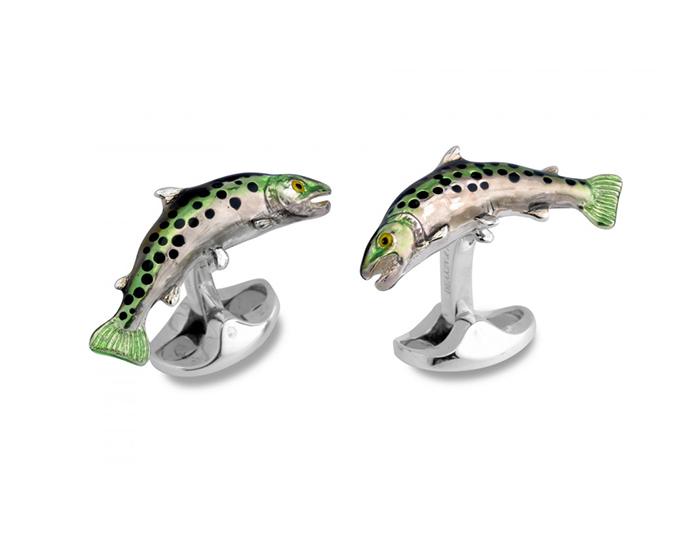 Deakin & Francis trout enamel cufflinks in sterling silver.