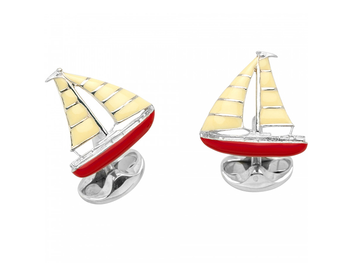 Deakin & Francis sailboat enamel cufflinks in sterling silver.