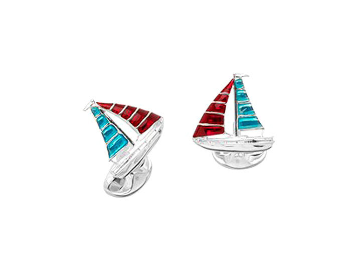 Deakin & Francis enamel sailboat cufflinks in sterling silver.