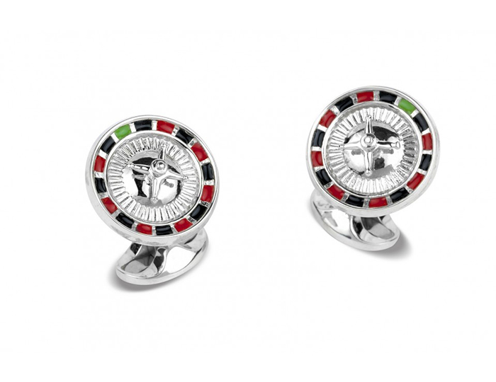 Deakin & Francis spinning roulette wheel enamel cufflinks in sterling silver.