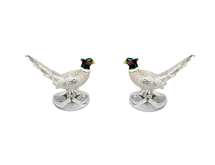 Deakin & Francis pheasant cufflinks in sterling silver.