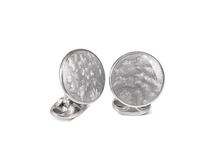 Deakin & Francis round silver enamel cufflinks in sterling silver.