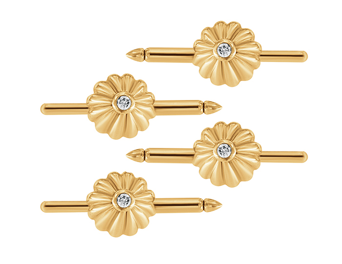 Round brilliant cut diamond stud set in 14k yellow gold.