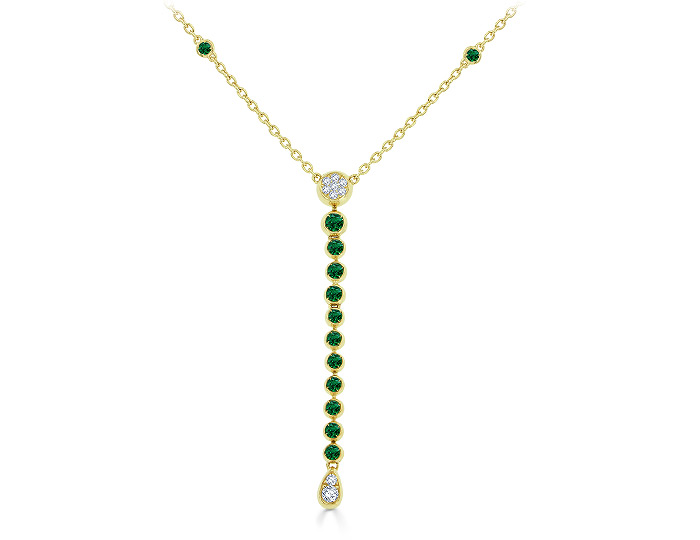 Casato emerald and round brilliant cut diamond necklace in 18k yellow gold.