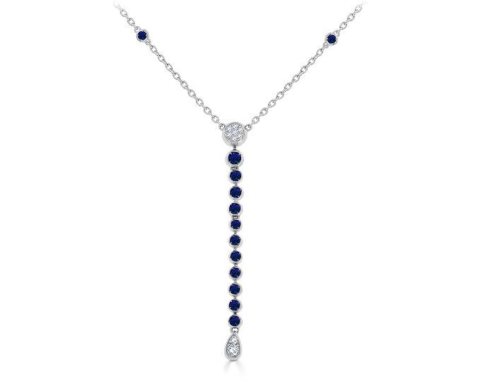 Casato sapphire and round brilliant cut diamond necklace in 18k white gold.