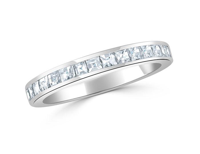 Bez Ambar blaze cut diamond band in 18k white gold.