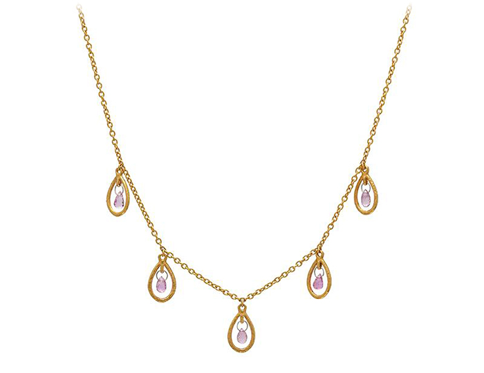 Gurhan Delicate Collection pink sapphire necklace in 24k yellow gold.