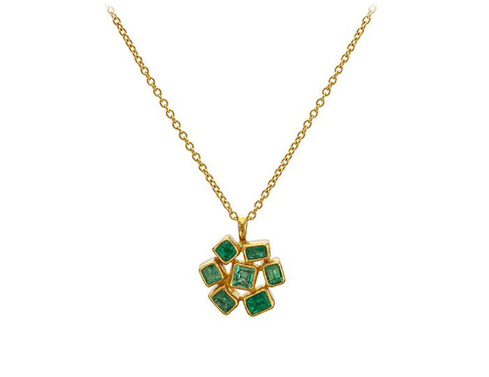 Gurhan Pointelle Collection emerald necklace in 24k yellow gold.