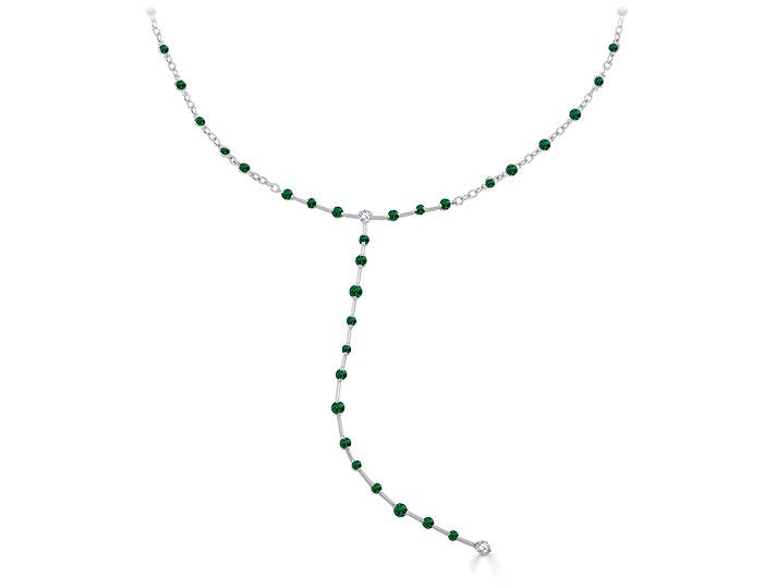 Casato emerald and round brilliant cut diamond necklace in 18k white gold.