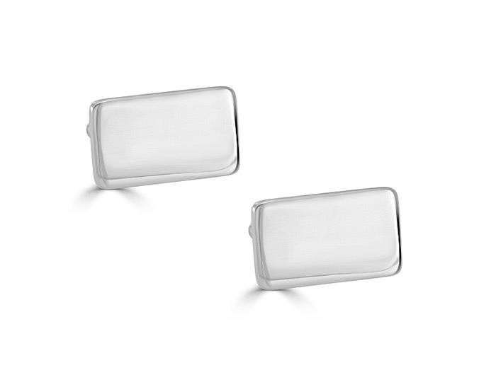 Rectangular cufflinks in sterling silver.