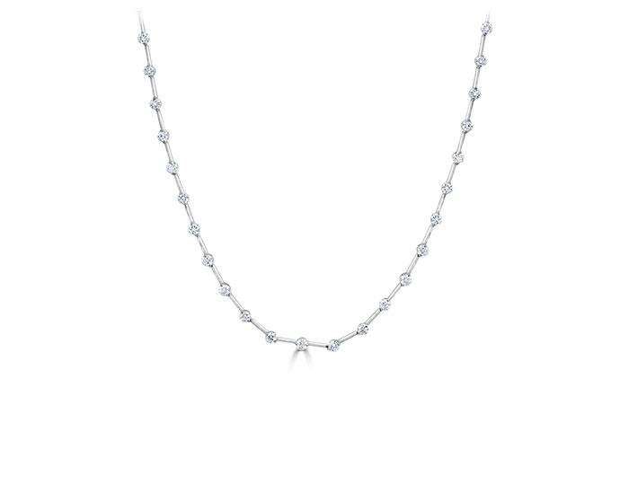 Casato Maureen Collection round brilliant cut diamond necklace in 18k white gold.