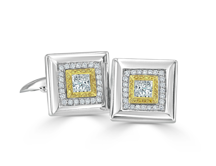 Men's princess and round brilliant cut yellow and white diamond clufflinks in 18k white gold.