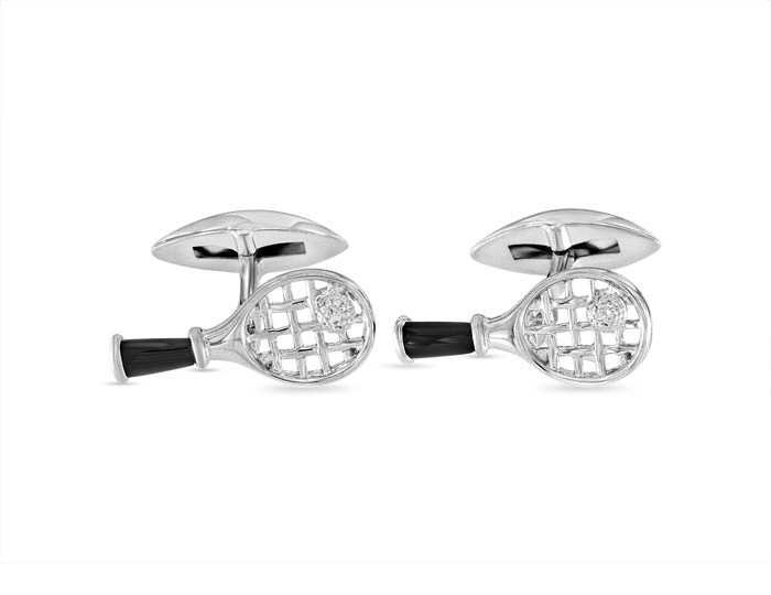 Black onyx and diamond cufflinks in silver.