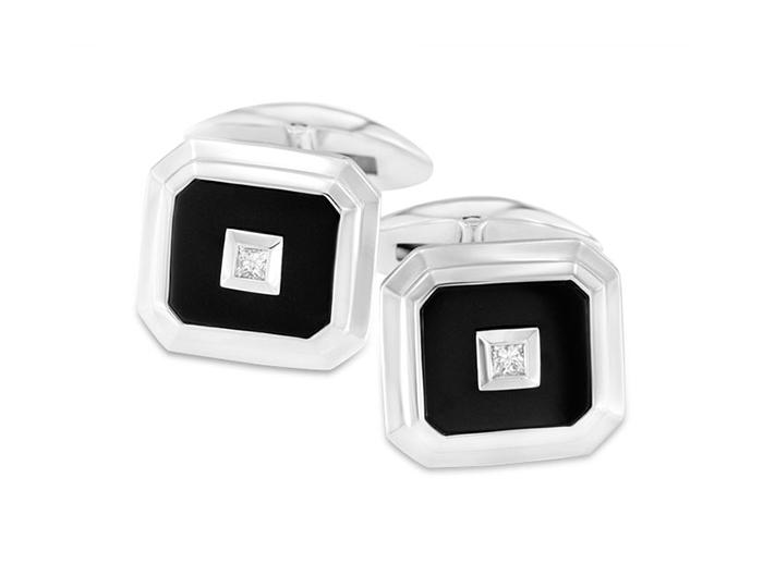 Black onyx and diamond cufflinks in silver.