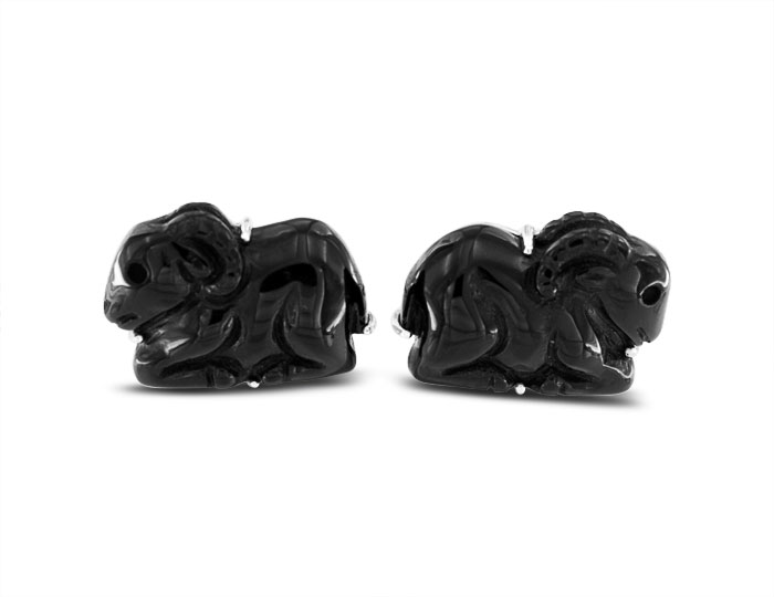 Black onyx cufflinks in silver.