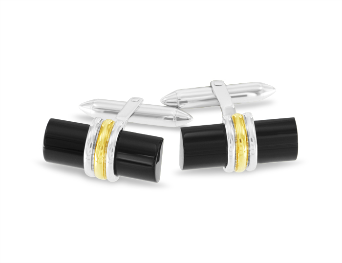 Black onyx cufflinks in 18k white and yellow gold.