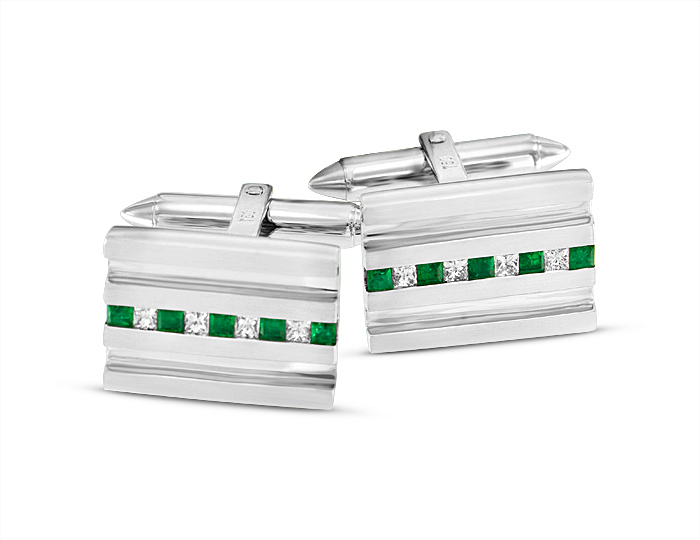 Emerald and princess cut diamond cufflinks in 18k white gold.