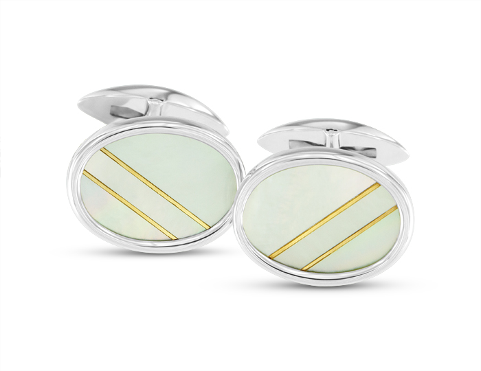 Mother of pearl cufflinks in silver.